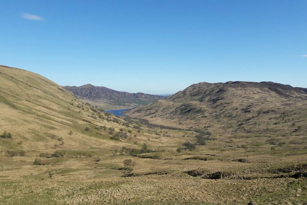 View from the Meall trail at Glen Finglas, in hills behind chalet