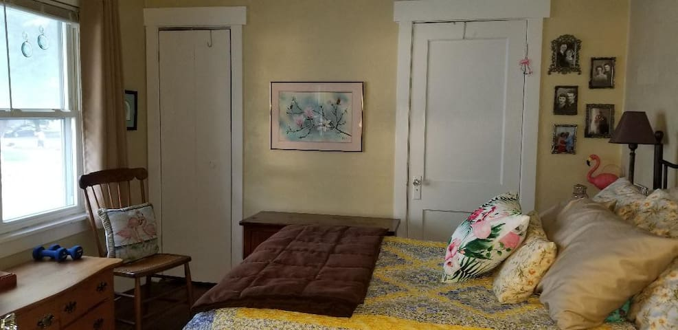The main bedroom has a double bed.