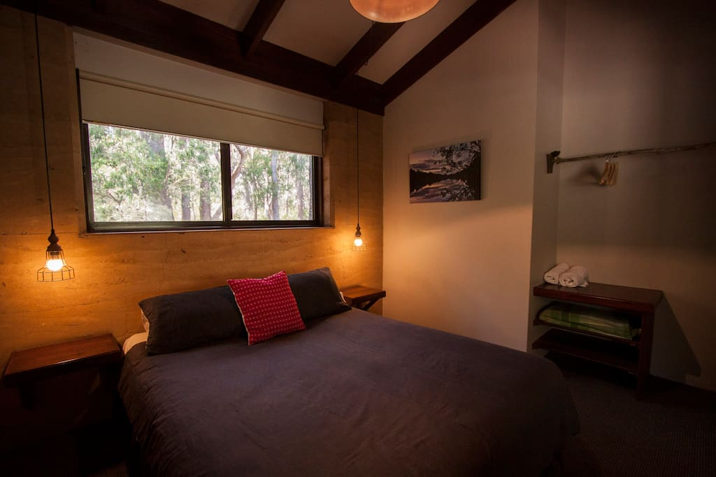 Our two bedrooms have comfy queen beds and room to hang your clothes too.