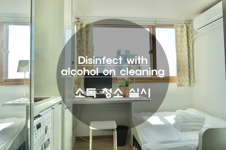 3mins * GangDong stn* LotteTowerView- free wifi/TV