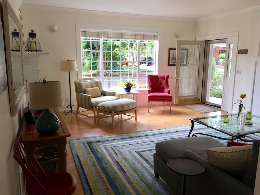 Living room with huge windows.
