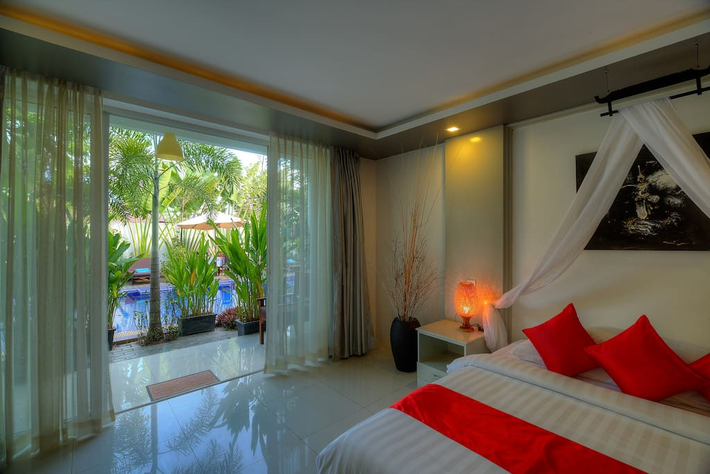 Double Suite Room with balcony and Poolview