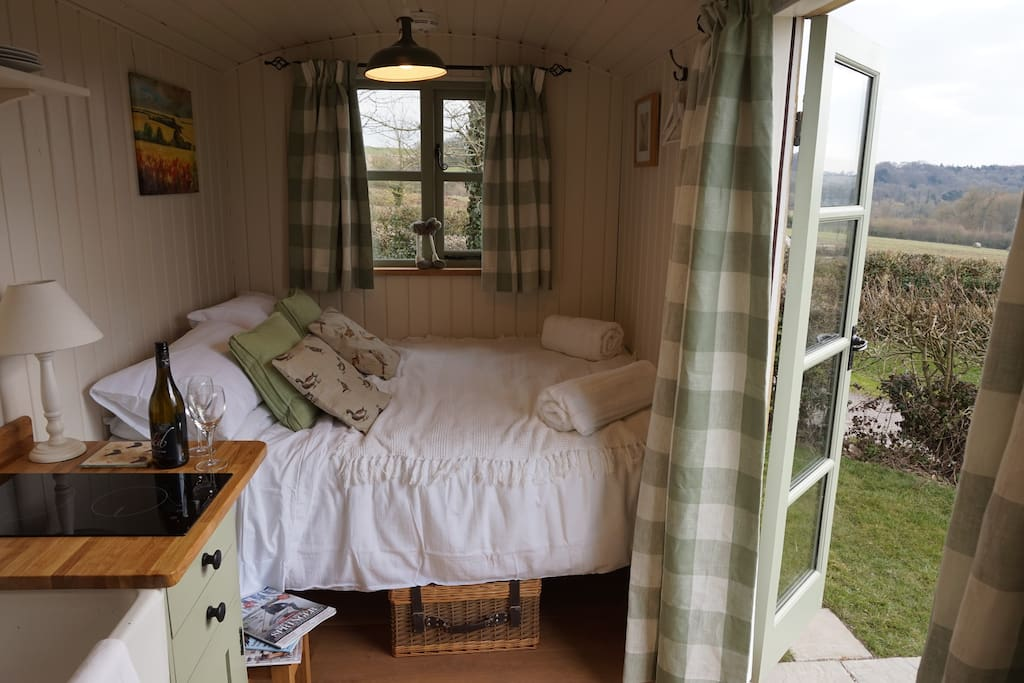 Inside the hut with far reaching views