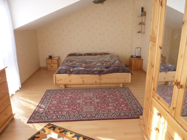 Spacious room in new semi-rural villa near Geneva.