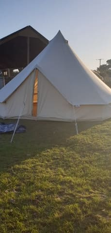 Camping on the farm with adjoining pod, bell tent