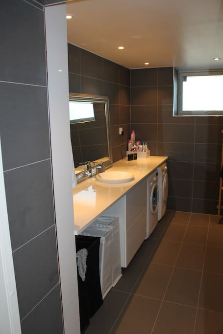 Bathroom with washing machine and dryer (shared with host)