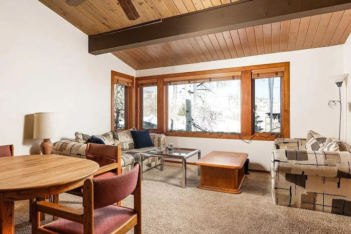 Cozy ski in ski out studio with loft