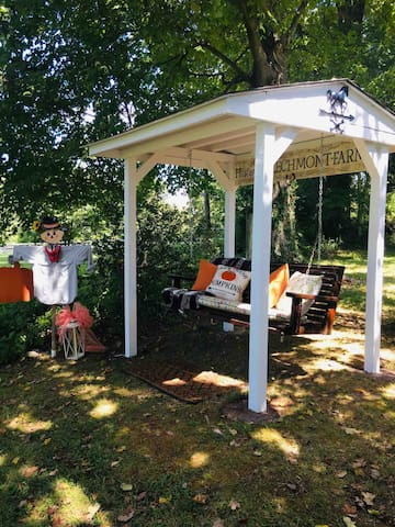 Just finished for this fall! Guests are invited to swing and enjoy the view of the farm!