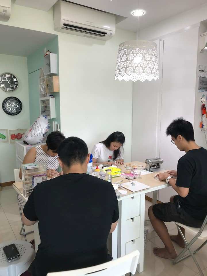 Husband and wife crafting session