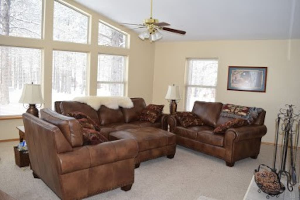 Plenty of natural light and comfy furniture in the living area.