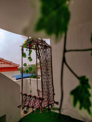 Private Garden with a hammock swing