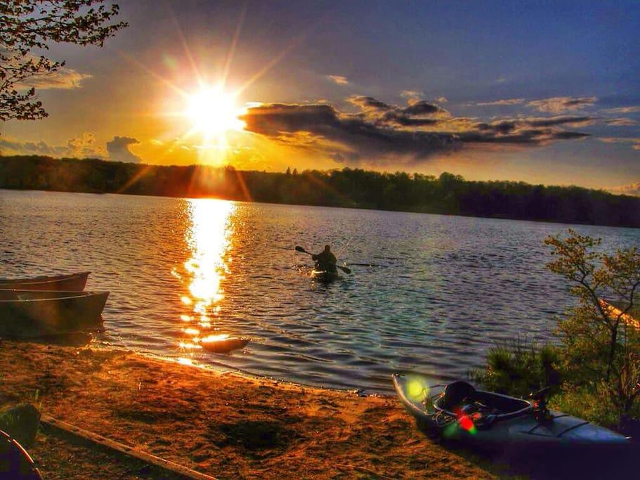Sunset kayak from the beach