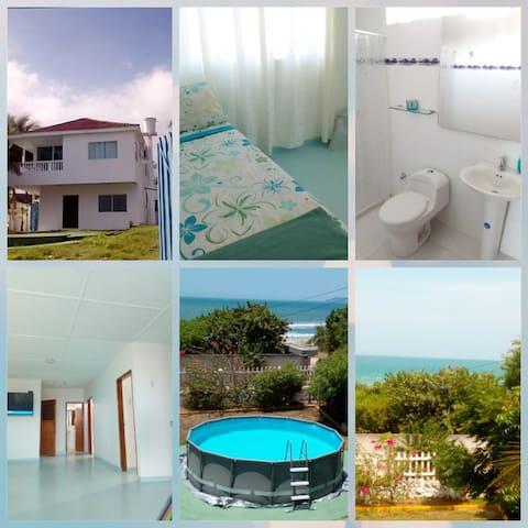 Collage fachada de la casa, habitación, baño de la habitación, sala de estar,pisicina y vista al mar desde el balcon delsegundo piso