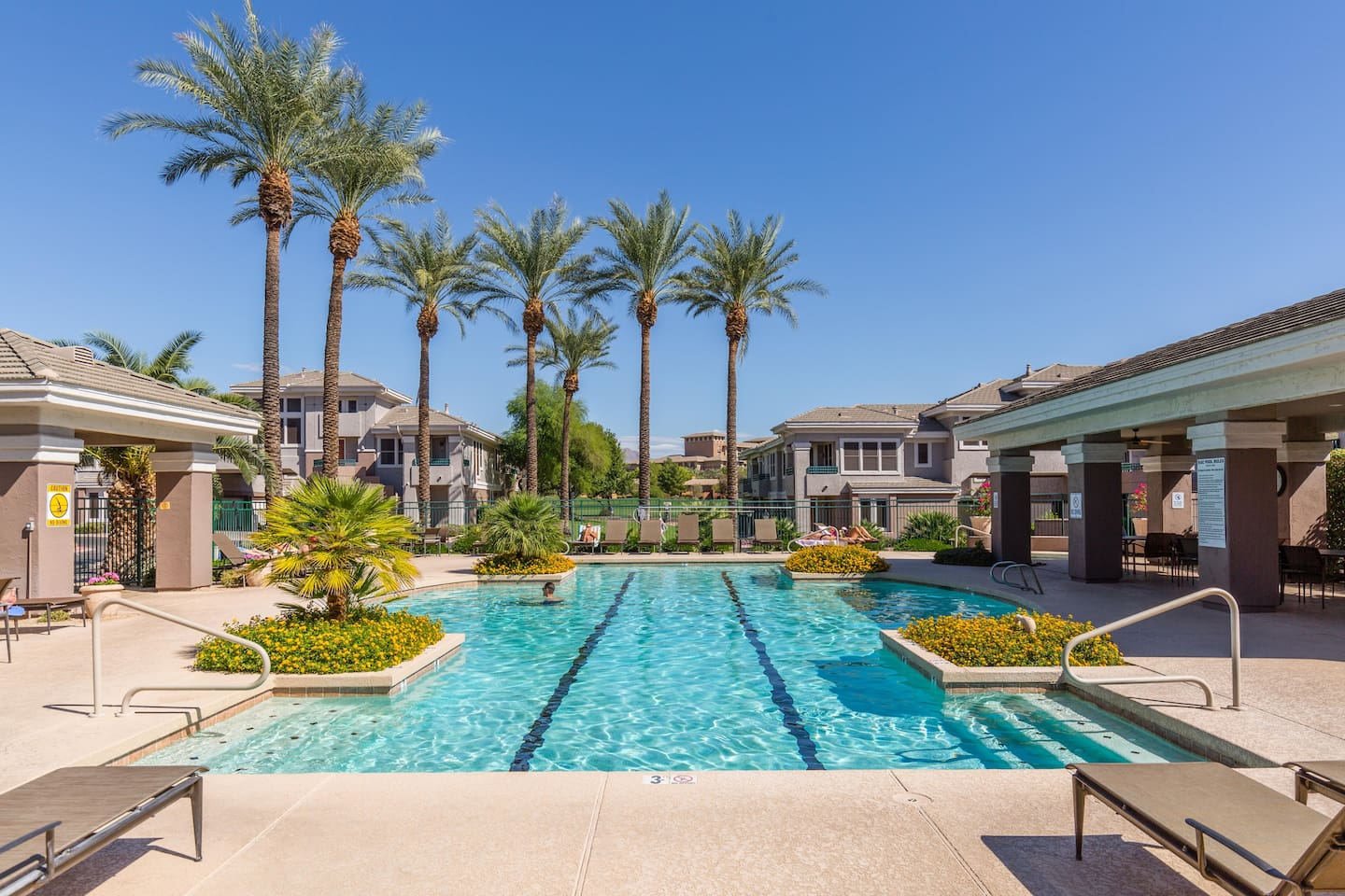 Pool, hot tub, covered dining, grills - pool, lounge chairs, and covered dining are all equipped with misters.
