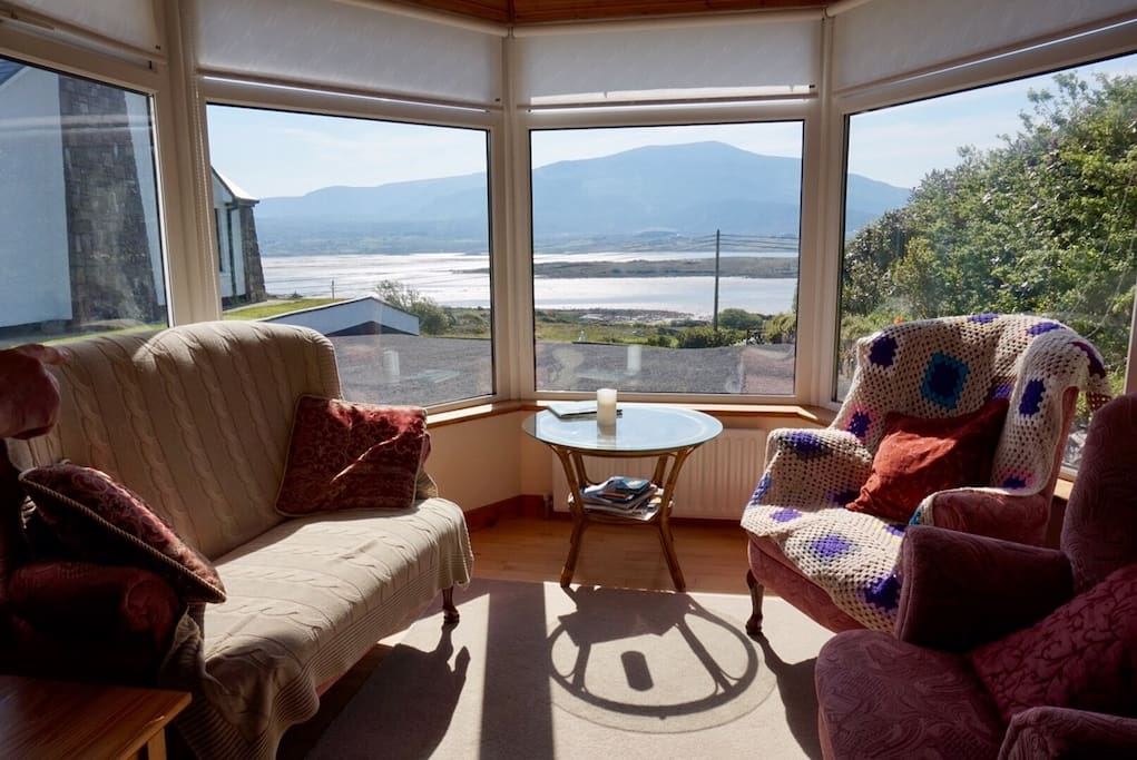 Stunning view over the bay and the mainland from the sitting area of the cottage