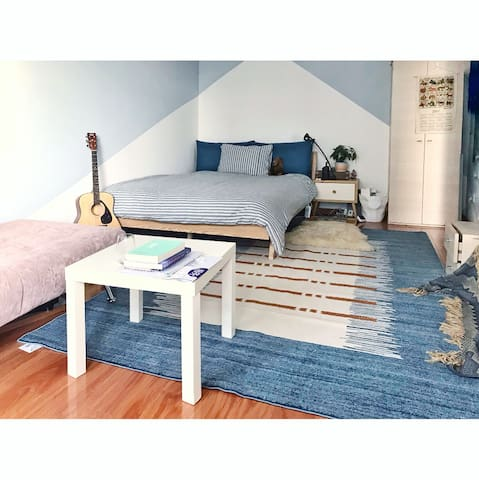 Cozy Studio with queen size bed and sofa bed