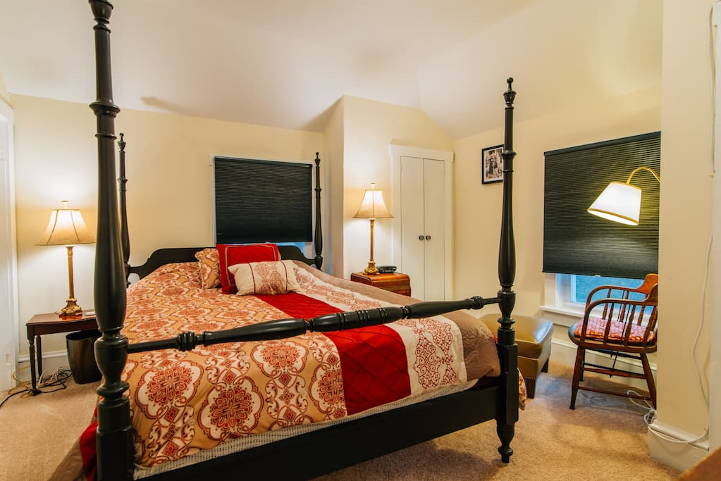 One of two master bedrooms - this one has darker shades along with a queen sized memory-gel mattress.