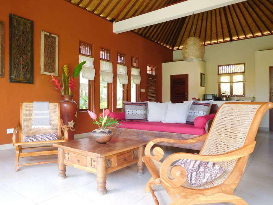 Living room with traditional balinese wood furnitures
