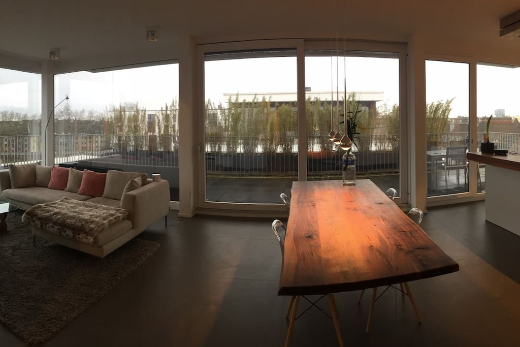Living room, terrace and kitchen