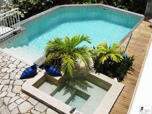 Joli T2 vue mer rez de jardin terrasse piscine spa