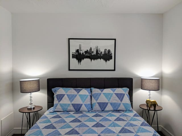 Serene, comfortable bedroom for a restful night's sleep on our hotel quality luxury Leesa mattress