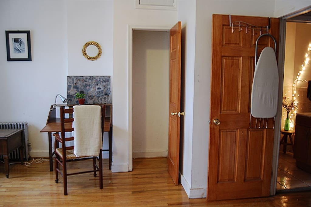 The room has 2 closets, a desk, and located right next to the bathroom.