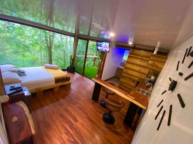 we are inside a safe and quiet residential area you will listen to nature we have a private path walking in the jungle, there is an area where you have a view of the volcano and watch the sunsets, just 5 minutes from the city