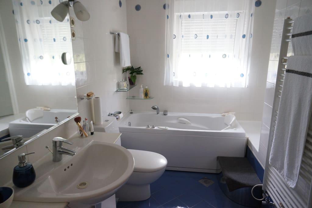 Shared bathroom with a host