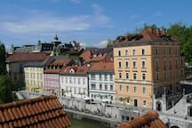 View from the sitting room tempts you to explore charming Ljubljana. All the attractions are just a step away!