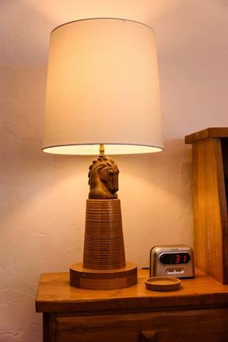 Hand carved bedside lamp