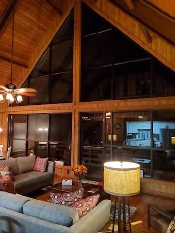 An evening view after sunset of the Family Room