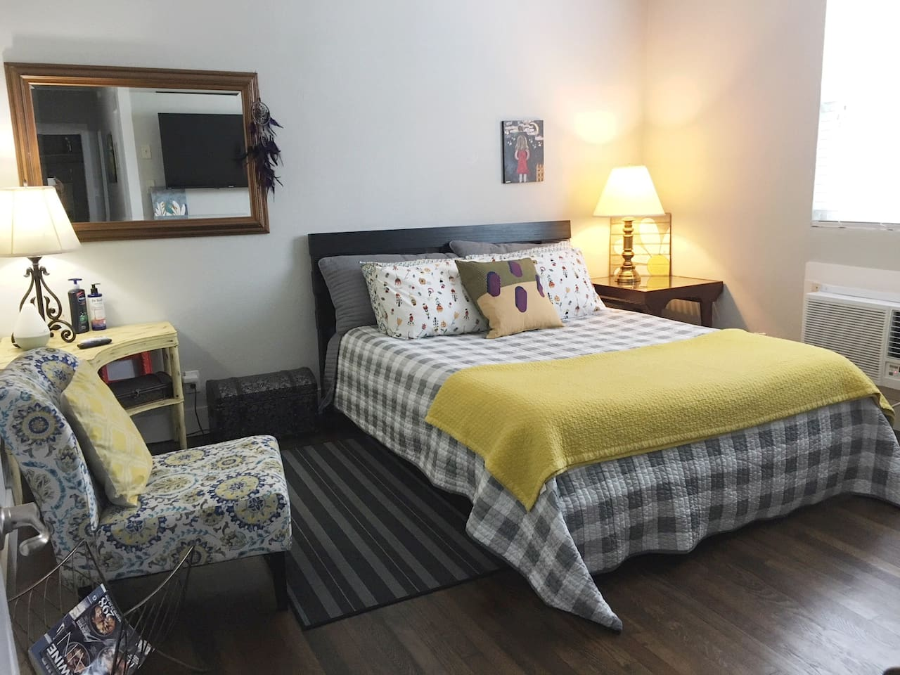 Welcome to the Sweet Suite and this delightful new queen size platform bed that sleeps like a dream!  Not enough space to describe all the handmade and original furniture and art.  But, Uncle Barney made the corner table some 40+ years ago...