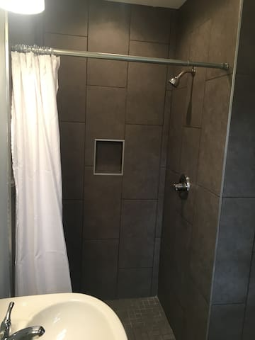 Spacious tiled shower