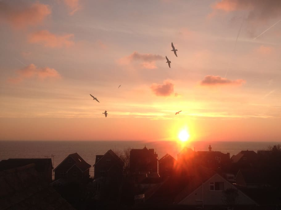 Sunrise from attic bedroom