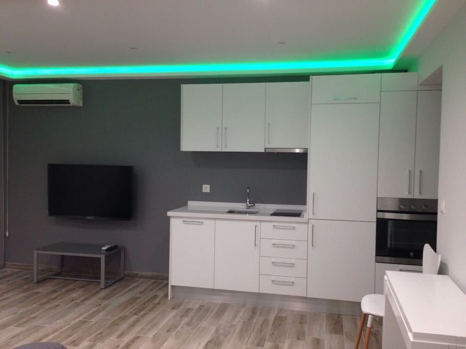 Modern living room, little kitchen, with dish washer, oven, big fridge.