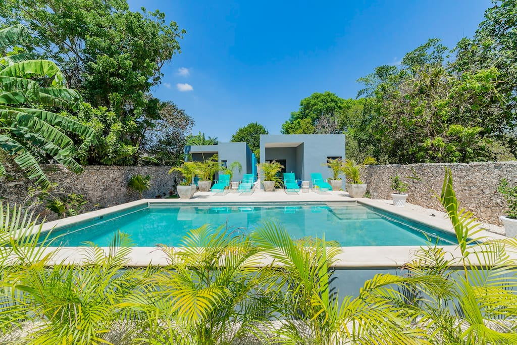 Dulce Vida Merida features 2 private guests Casitas. the Wanderer and the Traveler named after the palm trees infant of each.