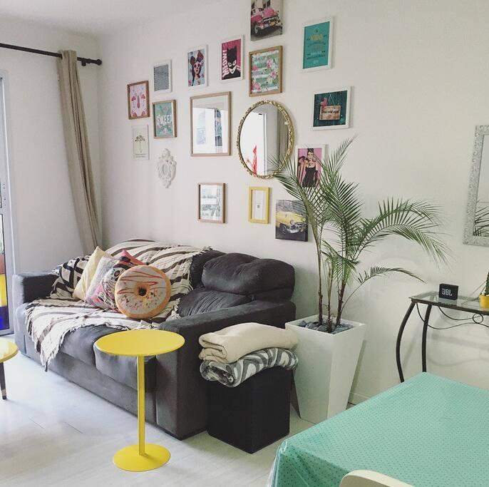 Nossa sala é conjunta com a sala de jantar, possui uma tv (42 polegadas)  Netflix, sofá de 3 lugares, pufes, jogos, livros etc...