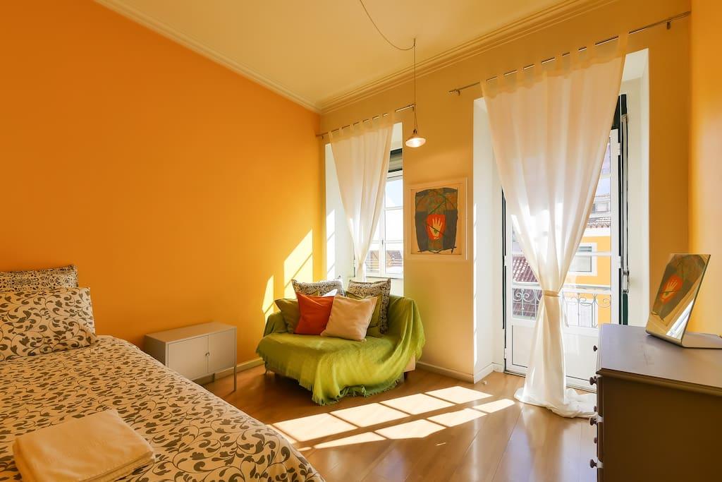 Double bedroom with plenty of light