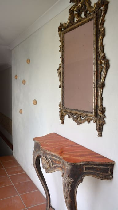 Slightly bad knock off baroque hall table and mirror