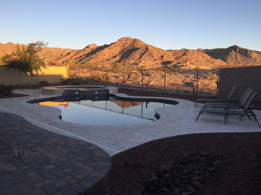 Morning Sunrise from the Backyard with Heated Pool and Spa