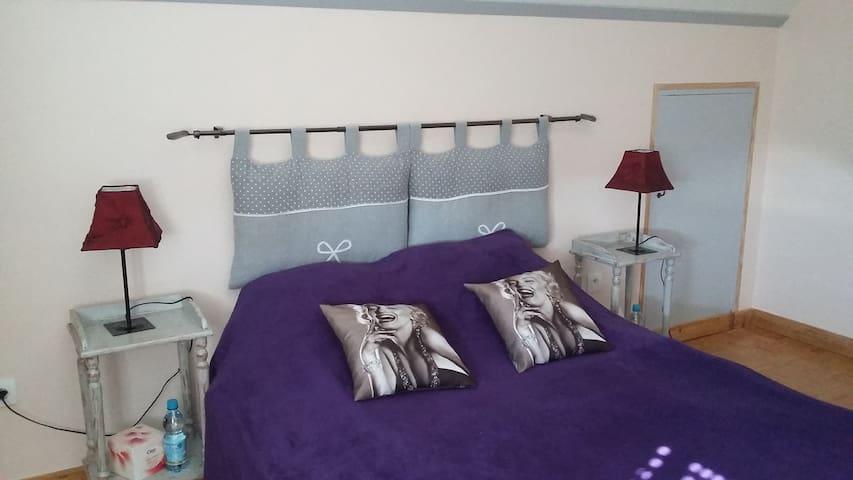 1 chambre  1 lit double + 1 lit bebe - La Flèche - Huis