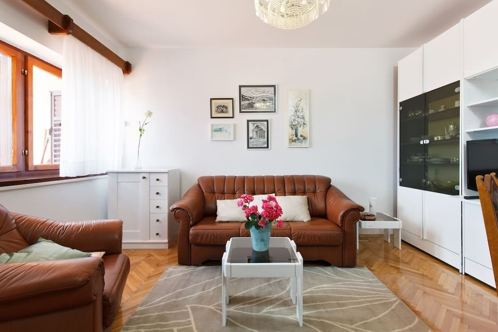 Living room with sofa bed for two persons