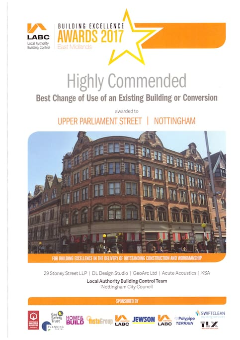 """Local Authority Building Control, 2nd place award in category of """"Best change of use of a building in the East Midlands 2017"""""""