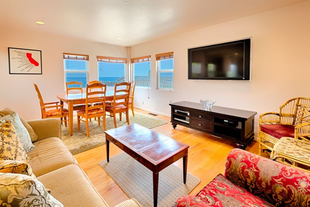 Enjoy the ocean views while relaxing in the living room and enjoying family meals.