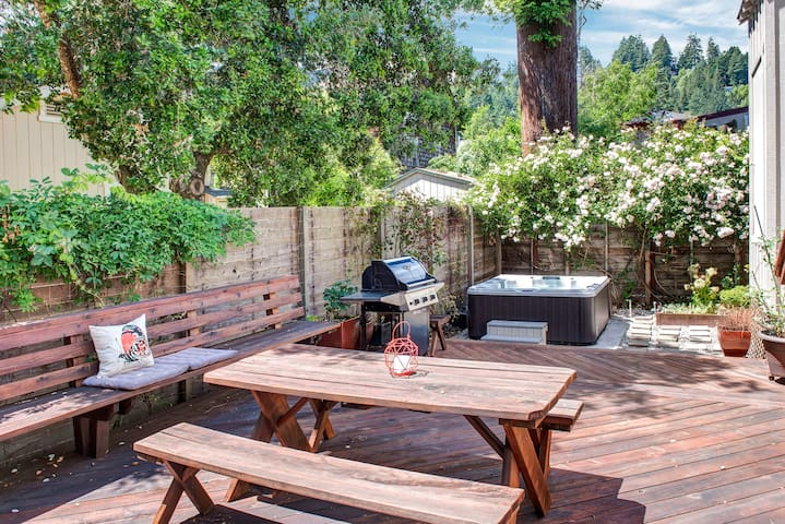 Sunny deck with grill and hot tub