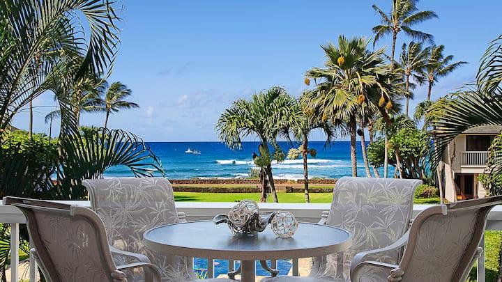 AC, OCEAN VIEWS & WALK TO SHOPS & DINING! BEST POIPU LOCATION!