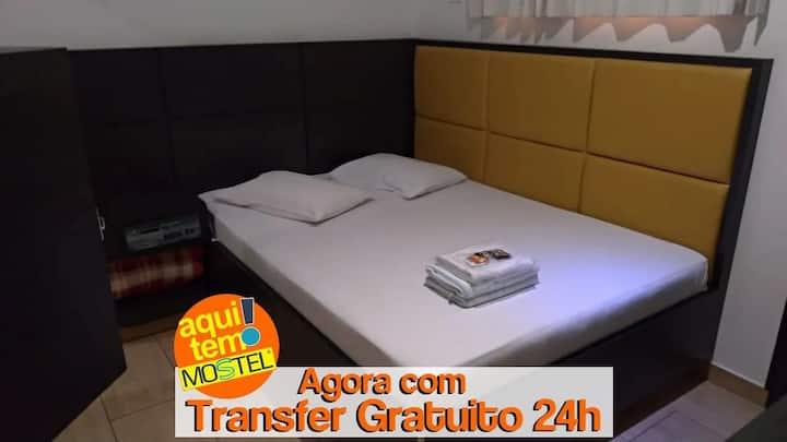 QUARTO COM SERVIÇOS DE HOTEL PARA 2 PESSOAS COM PADRÃO DE QUALIDADE MOSTEL + TRANSFER AEROPORTO GRU