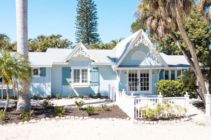 Location, location, location...this beautifully renovated beach house is a short stroll to a white sugar sand beach.  Only 2 houses from free trolley stop to downtown Anna Maria Island, Holmes Beach, or downtown Bradenton Beach.