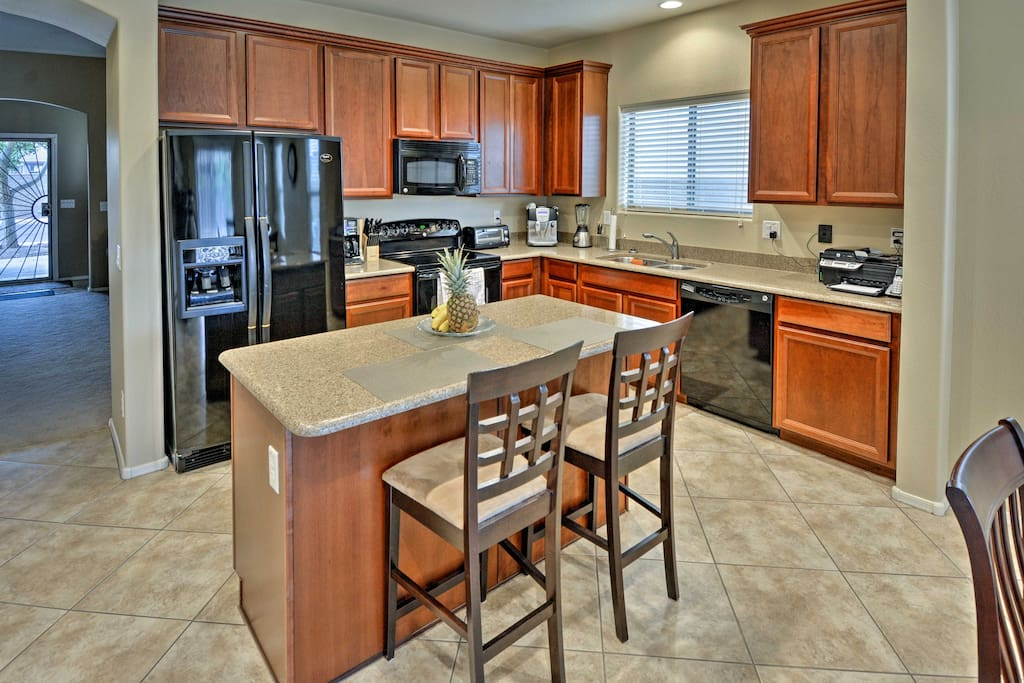 You'll enjoy all of the comforts of home, including this fully equipped kitchen.
