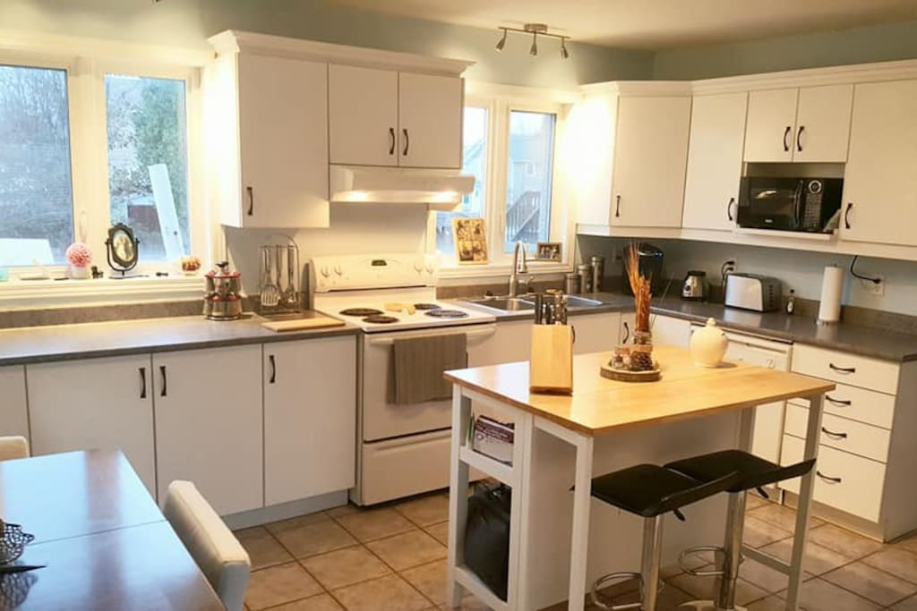 Large kitchen with all you need to cook yourself an awesome supper!